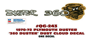 QG-243 1970-1972 PLYMOUTH DUSTER - DUSTER 360 CLOUD - TAIL PANEL DECAL - ONE