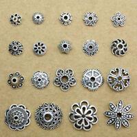 Bulk 10/20/30/50PCS Hollow Tibetan Silver Flower End Bead Caps Connector Jewelry