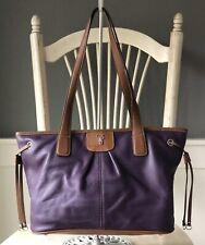 TIGNANELLO Purple & Brown Leather Tote Shoulder Handbag Purse Satchel Medium