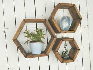 Handmade Wooden Hexagon Shelves  Display Shelves  Walnut Wax Finish  Set Of 3