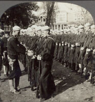 """WW1 Stereoview """"Parade Rest"""" - United States Sailors at Naval Training Station"""
