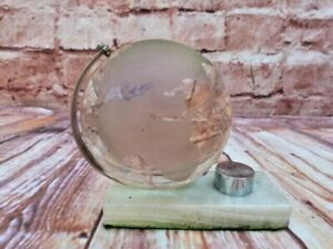 VINTAGE SOLID ETCHED GLASS & CHROME DESK TOP GLOBE