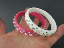 Set of 2 Pink and White Rhinestone and Lucite Bangle Bracelets