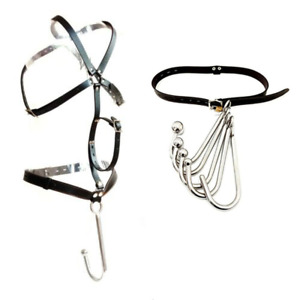 PU Leather Handcuffs Chastity Belt With Steel Anal Hook Fetish Butt Plug Harness