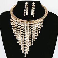 Fashion Luxurious Gold Rhinestone Tassels Choker Necklace Earring Set Jewelry UK