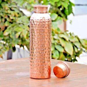 Drinking 100% Pure Copper Hammered Water Bottle Ayurveda Health Benefits 950m US