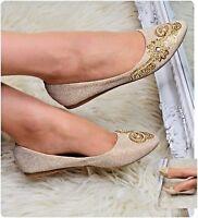 Women Flat Shoes Floral Appliques Sparkly Pumps Ballerina Style Evening Size