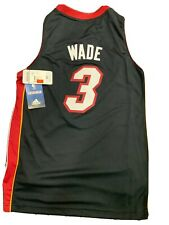 New Dwayne Wade Miami Heat Boys Size Medium 10-12 Adidas Black Swingman Jersey