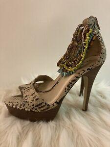 PAPRIKA Women's STUNNING Shoes Sz 7 Stilettos Beaded Ankle Straps Zippered Back