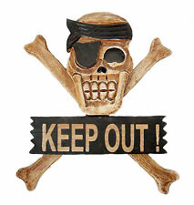 PIRATE SKULL & CROSSBONES JOLLY ROGER  KEEP OUT SIGN WOOD HAND MADE PAINTED