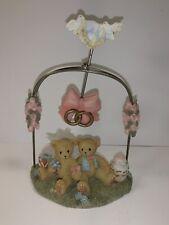 Very Rare Cherished Teddies 4001933 Wedding Cake Pendulum Bride Groom Roses NIB3