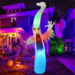GOOSH 12 FT tall Halloween Inflatables Outdoor Horror White Ghost, Blow Up Decor