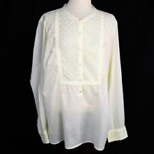 NEW Old Navy Womens XXL Top Relaxed Cotton Semi Sheer Buttons LS Lace Ivory