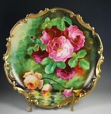 "13"" Beautiful  Limoges France Charger Plate Gold Trim Roses"