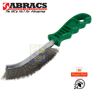 Abracs plastic handle stainless steel wire hand scratch brush rust & weld clean