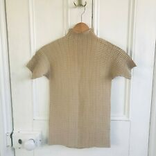 ISSEY MIYAKE FETE pleated processing high neck T-shirt beige Size 2 JAPAN F/S