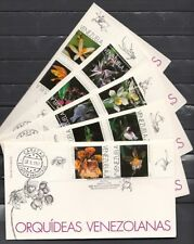 Venezuela, Scott cat. 1563 A-J. Orchids issue on 5 First day Covers.