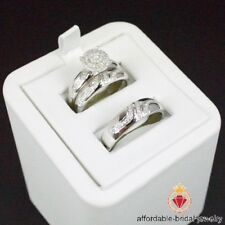 White Gold Over His Her Mens Woman Diamonds Wedding Ring Bands Trio Bridal Set