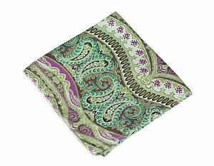 Lord R Colton Masterworks Pocket Square - Galapagos Lime Pink Silk - $75 New