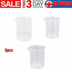 3PCS 50/150/250ML Measuring Cup Plastic Jug Beaker For Kitchens Laboratories UK