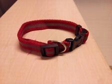 Collier pour chien règlable rouge avec bande réfléchissante
