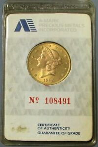 VINTAGE A-MARK PRECIOUS METALS 1896 GOLD $20 LIBERTY MINT STATE IN COA SEALED