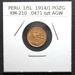 PERU - 1914/1 POZG - 1/5 LIBRA GOLD - CIRCULATED - 1/5L - KM-210 - OVERDATE