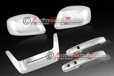 Fit 05-15 Nissan Frontier Chrome 2 Door Handle+Tailgate+Mirror Covers Combo