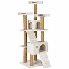 Rascador para gatos Árbol arañar juguetes 169 cm de altura blanco