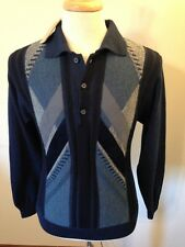 BNWT Mens Turnberry Geometric Print Navy Polo Sweater-S Small (36)-Made in Italy