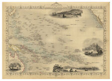 Polynesia Pacific Ocean Sandwich Islands illustrated map John Tallis ca.1851