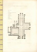 c1790 ANTIQUE GEORGIAN PRINT ~ PLAN OF CHESTER CATHEDRAL GROUND FLOOR