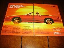 1987 Camaro Iroc-Z Convertible *Original 2 Page Ad*