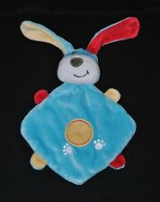 Peluche doudou chien lapin plat KIMBALOO la halle bleu empreintes jaune TTBE