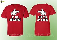 Couple Matching T Shirts His Hers - I am Hers He is Mine Matching Couple - Red