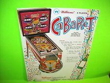 Williams CABARET Original 1969 Flipper Game Pinball Machine Promo Flyer FAIR