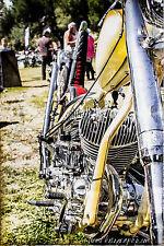 12x18 in. Garage Poster Indian Motorcycle, Vintage Art Man Cave Harley Davidson