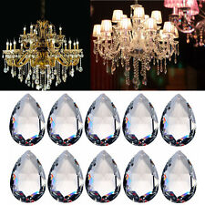 10Pcs Lot Sale 38mm Teardrop Faceted Crystal Glass Loose Spacer Beads Pendants