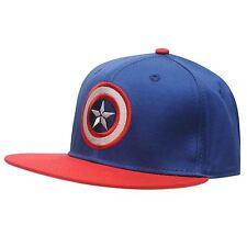 MENS BLUE MARVEL CAPTAIN AMERICA BASEBALL CAP HAT FLAT PEAK SNAPBACK SNAP BACK