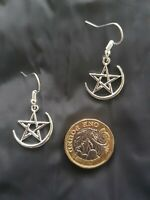Ladies Silver Wiccan Hook Earrings Halloween Wicca Pagan Pentacle Star