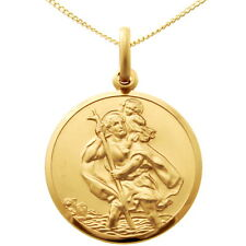 "9CT GOLD ST SAINT CHRISTOPHER PENDANT CHAIN NECKLACE WITH 18"" CHAIN - 22mm"