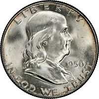 1950 50c Franklin Silver Half Dollar NGC MS65 FBL BOTH SETS OF LINES FULL