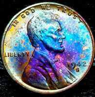 """1942-S Lincoln Wheat Penny Cent- """"Beautifully Toned"""" SUPERB MS++ GEM++ BU++ 00"""