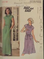 VTG 70s BUTTERICK 5313 Misses Cowl Collar Dress or Top & Skirt PATTERN 16/38B UC