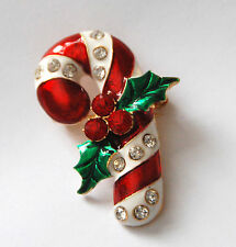 Candy Cane  Pin and/or Pendent / Candy Cane w Bow / Gold-tone w Crystal Accents