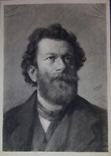 A. Schrack, Herrenportrait, große Kohlezeichnung, 1883