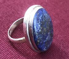 Tibetan Style Ring 925 Sterling Silver w/ Natural Lapis Lazuli (Size 8)