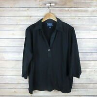 CHAPS Women's 3/4 Sleeve Collared Pop Over Blouse Plus 2X Black