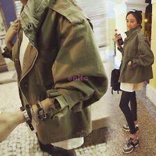 Fashion Women Drawstring Army Green Military Trench Parka Coat Jacket -17