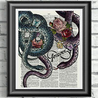 ART PRINT ON ORIGINAL ANTIQUE BOOK PAGE Snakes Infinity Sign Forever Dictionary